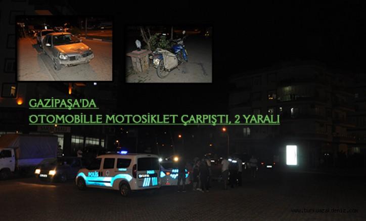 GAZİPAŞA'DA OTOMOBİLLE MOTOSİKLET ÇARPIŞTI, 2 YARALI