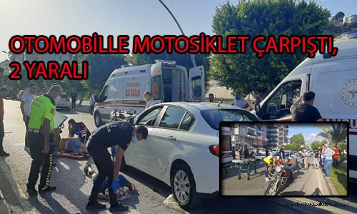 OTOMOBİLLE MOTOSİKLET ÇARPIŞTI, 2 YARALI